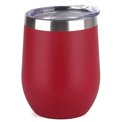 SUNWILL Vaccum Insulated Wine Tumbler with Lid (Wine Red), Stemless Stainless Steel Insulated Wine Glass 12oz, Double…