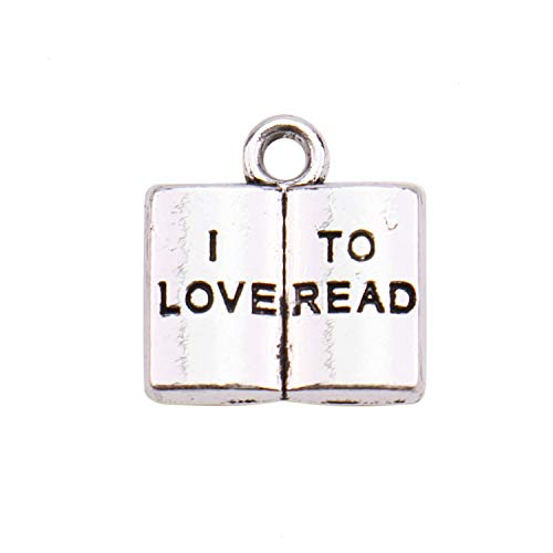 JETEHO 30 Pcs Antique Silver Book Charm I Love to Read Alloy Message Charms Pendant Bulk for Bracelet Jewelry Making