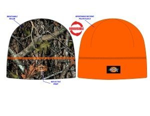 (Dickies Men's Performance System Reversible Poly/Fleece Knit Skull Beanie (Camo/Orange))