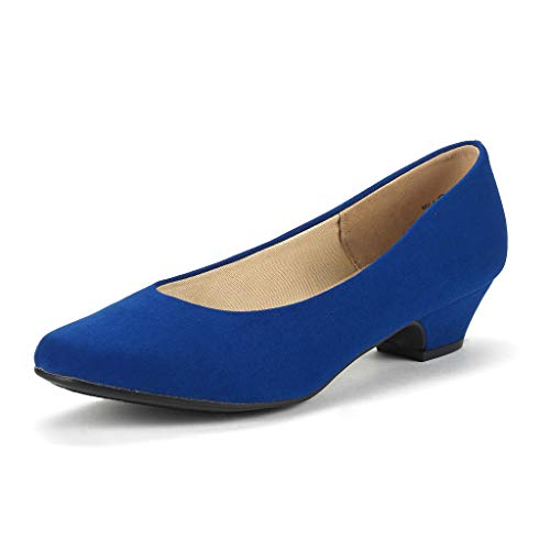 DREAM PAIRS Women's Mila Royal Blue Low Chunky Heel Pump Shoes Size 5.5 M US