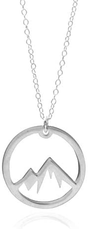 Silver Mountain Necklace - A Sterling Silver Circle Mountain Pendant Necklace - The Mountains Are Calling Neck