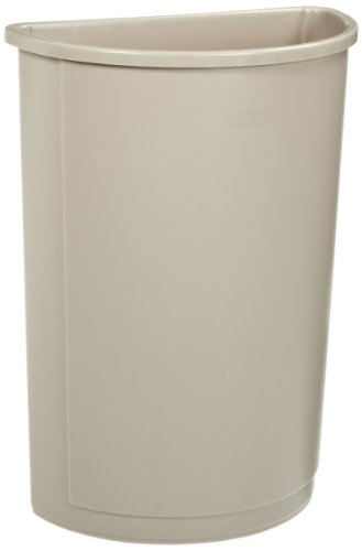 Rubbermaid Commercial Untouchable Waste Container, Half-Round, Plastic, 21 Gallons, Beige (352000BG)