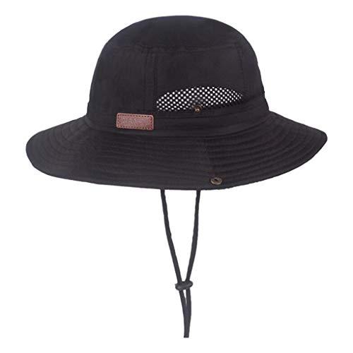 (FEDULK Windproof Fishing Hats Big Wide Brim Sun Protection Soft Foldable Camping Hiking Outdoor Mesh Cap(Black))