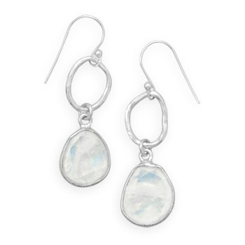 Rainbow Simulated Moonstone Drop Earrings Silvertone