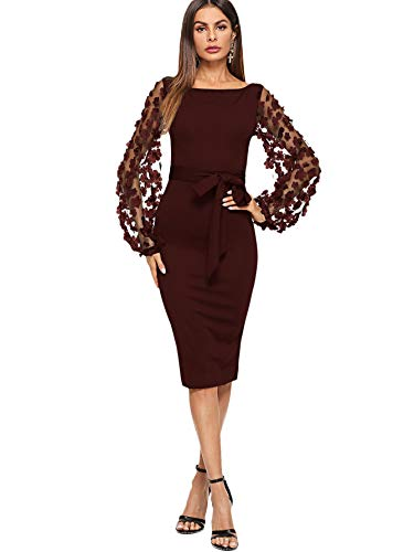 SheIn Women's Elegant Mesh Contrast Bishop Sleeve Bodycon Pencil Dress Small Burgundy