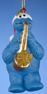 Cookie Monter Sesame Street Christmas Ornament, Saxaphone