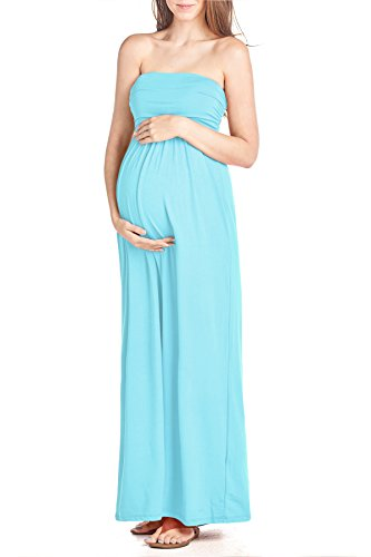 Beachcoco Women's Maternity Comfortable Maxi Tube Dress (XL, Aqua Blue)