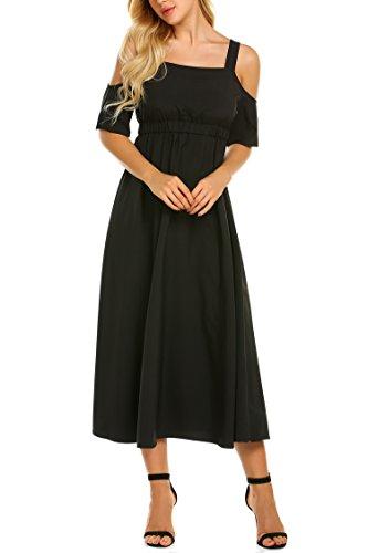 Showyoo Women's Cold Shoulder Spaghetti Strap Empire Waist Long Maxi Dress Black XL (Sleeve Black In Dress Short Empire)