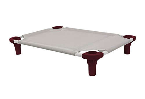 """Mahar Manufacturing 40"""" x 22"""" Pet Cot in Gray with Burgundy Legs, Unassembled from 4Legs4Pets"""
