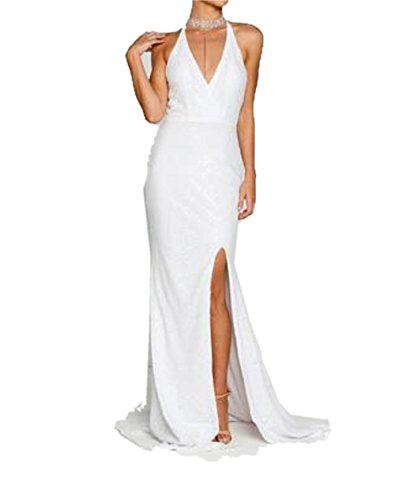 White Deep Dresses � Long Dresses Chellen Evening Shiny C042 Neck Sparkle V Sequin Prom qwfnZnSO