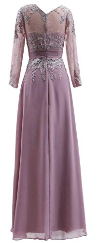 Long Gown Bride The Mother Dress Women Neck V MACloth Dark Green Sleeves of Evening Lace 7YH5w0aF