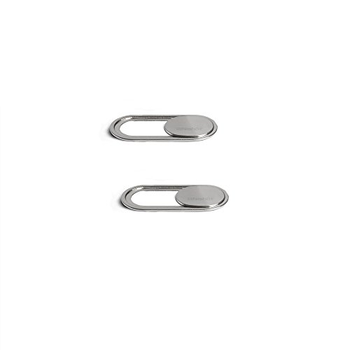 Webcam Cover 0.7mm THIN - Magnet Slider Camera cover - Protects your privacy, Stops Webcam Spying, Fits Smartphone Laptops Macbooks PCs Tablets and All-in-one desktops (Silver(2pack))