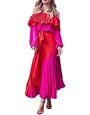 فستان طويل من GAGA للسيدات طويل الأكمام بدون أكتاف فستان طويل مكشكشة للحفلات والشاطئ