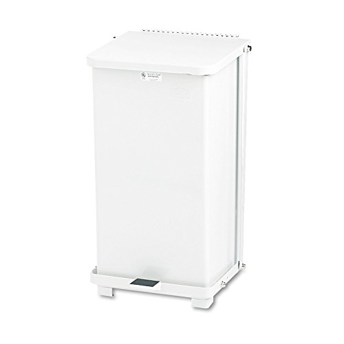 Rubbermaid Commercial Defenders Step-On Trash Can with Plastic Liner, 12 Gallon, White, FGST12EPLWH -