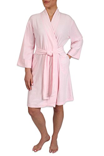 Heavenly Bodies Luxe Fleece Robe, Ultra Soft Short Lightweight Travel Wrap With Pockets and Sewn in No Slip Belt, Pink Heather, - The Shops At Heavenly