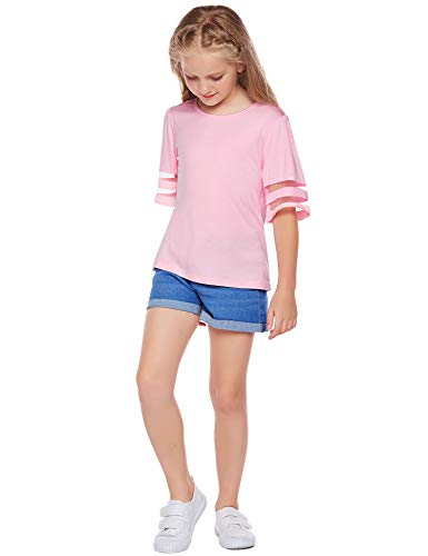 Arshiner Girls Casual Tunic Tops Shirts Kids Short Sleeve Blouse T-Shirt Size 4-13 Years 4