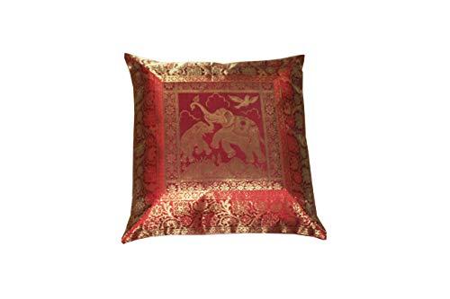 Real Online Seller Home Decorative Handmade Vintage Silk Brocade Zari Elephant Cushion Cover Ethnic Traditional Pillow Cover Boho Chic Bohemian Sofa Throw Pillow Case Indian Pillow