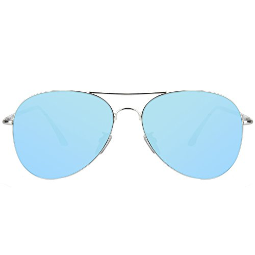 SOJOS Classic Aviator Mirrored Flat Lens Sunglasses Metal Frame with Spring Hinges SJ1030 with Silver Frame/Blue Mirrored -