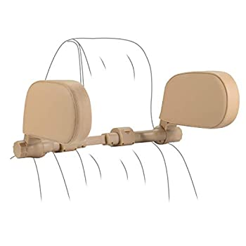 Yoocaa Automotive Headrest Pillow, Highway Pal Headrest, Adjustable Automotive Seat Head Neck Assist, U Formed Automotive Sleeping Pillow for Youngsters & Adults (Beige)