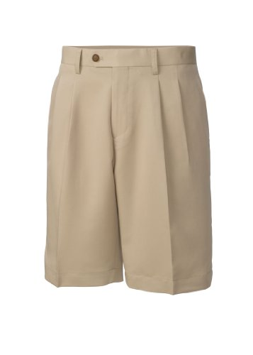 Cutter & Buck MCB01826 Mens Twill Microfiber Pleated Short, Khaki-40 (Front Pleated Shorts Microfiber)