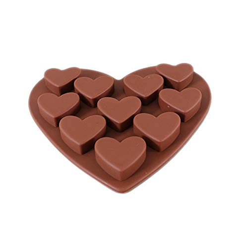 Kimanli Muffin Mould,Love Heart Shaped soap Jelly Pudding Cake Baking Tools Biscuit Molds Hole Cookies Cupcake Bakeware Pan Mould (Coffee)