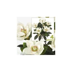 2' Magnolia Artificial Silk Flower Bushes (Cream) for Home, Garden and Decoration, with No Pot, (Pack of 4) 3