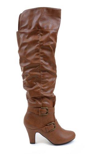 Fibbia In Similpelle Slouchy Knee High Vegan Boot Tan