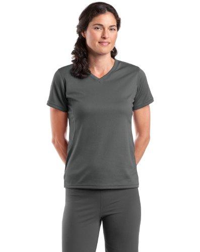 Sport-Tek L468V Dri-Mesh Ladies V-Neck T-Shirt - Steel - M