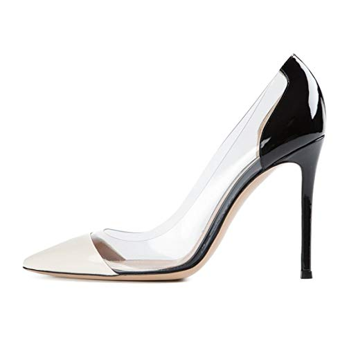 bb4c0999a5cca YODEKS Women's Slip-on Pumps High Heels Pointy Toe Sexy Clear Stiletto  Elegant Comfort 10CM Transparent Party Office Business Heeled Shoes White  Black ...