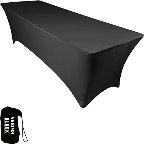 Amazin Gear SKRIMS PRO DJ Table Scrim Cover, 4 BLACK Rectangular Stretch Spandex Tablecloth w/Cable Holes +FREE Bag