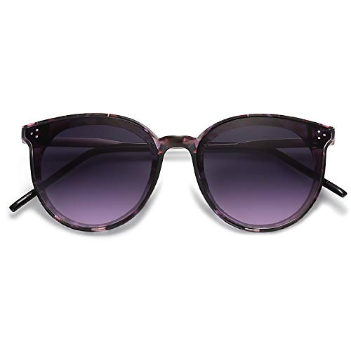 SOJOS Designer Round Sunglasses for Women Oversized Frame with Rivets DOLPHIN SJ2068 with Purple Marble Frame/Gradient Grey&Purple Lens
