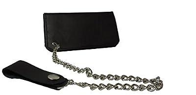 """7 1/2"""" Black Leather Biker Wallet Billfold w/ Chain"""