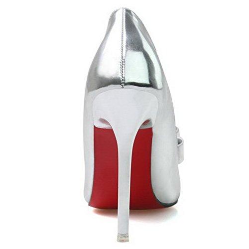 AalarDom Mujer Tacón de aguja Material Suave Puntera en Punta Sólido De salón con Lazos Plateado-Lazos