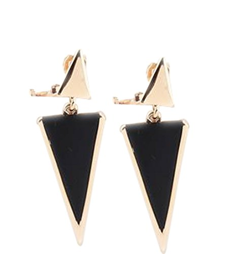 CNCbetter Women Fashion Jewelry Black Triangle Colorful Charms U Shaped Back On Clip - Clip Earrings Black