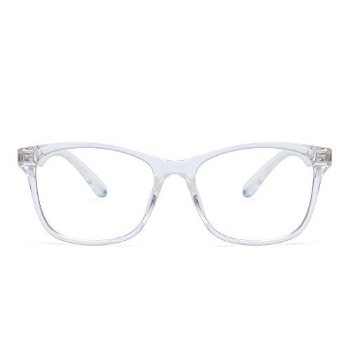 Blue Light Blocking Computer Reading Glasses, Reduce Eye Strain Anti Glare Clear Lens Video Eyeglasses Men Women Clear