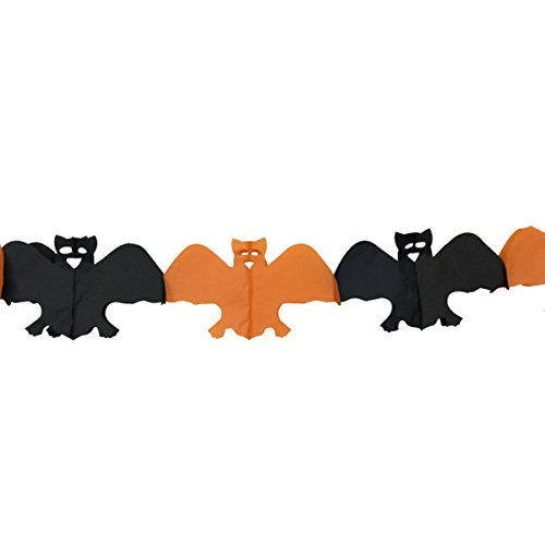 Just Artifacts Bad Bats Expandable Tissue Paper Garland Party Streamers (6 Pack, Orange/Black) (Expandable Bat)