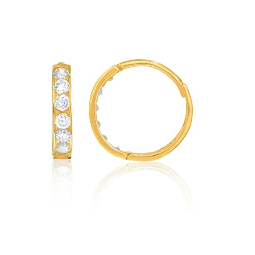 Children's 14K Solid Yellow Gold Baby Kids Huggie Hoop 2x10mm Cubic Zirconia Channel Set (14k Yellow Gold Baby Earrings)