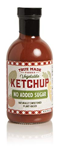 True Made Foods Vegetable No Added Sugar Ketchup, Paleo Certified, Keto, Whole30, Non-GMO 18 oz Glass Bottle by True Made Foods