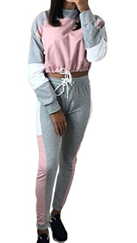 Nanquan Women Crop Top Long Sleeve Stitch Contrast Two Piece Suit Pants Sweatsuits Pink US XS