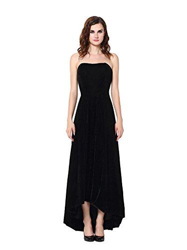 Vegeron Women's Black Velvet Strapless Hi-Lo Long Evening Formal Dress,Black,12