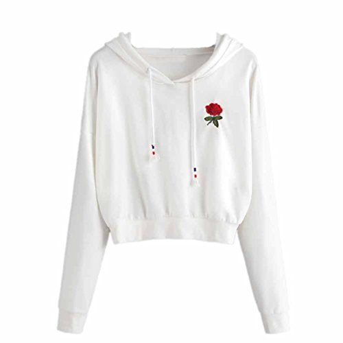 FDelinK Clearance Women Teen Girls Hoodie Rose Embroidered Sweatshirt Jumper Crop Top Pullover (White, L) ()