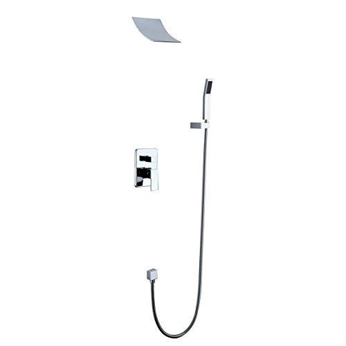 HiMyLEN Bathroom Shower Faucet System Brass High Pressure Rainfall With Hand Shower Wall Mount Contemporary Waterfall Ceramic Valve Chrome Finish