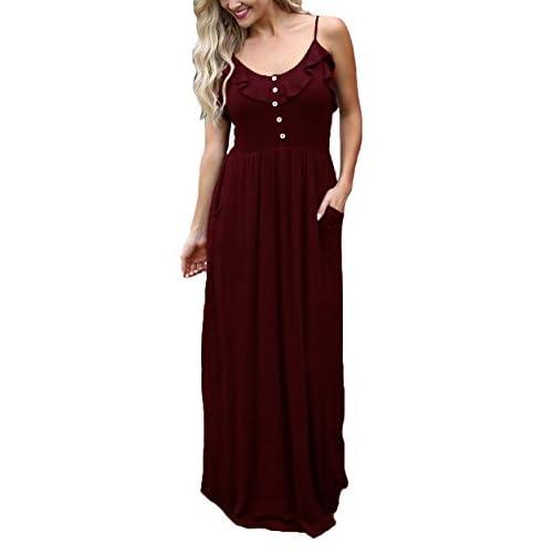 ETCYY Women's Halter Casual Sleeveless Button Ruffle Maxi Dress for Summer