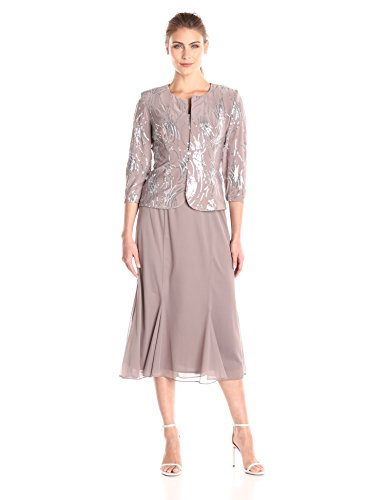 Alex Evenings Women's Tea Length Mock Dress with Sequin Jacket (Petite and Regular Sizes), Pewter/Frost, 6 (Elegant Tea Length Mother Of The Bride Dresses)