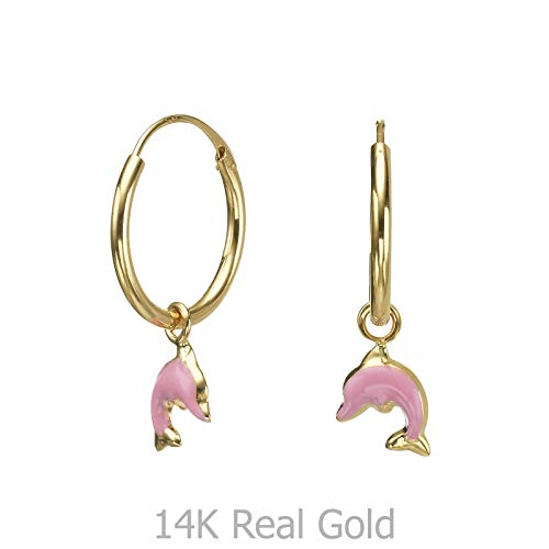 - 14K Solid Yellow Gold Hoop Charm Earrings Animals Dolphin Leap Kids Girls Baby Children Child Gift