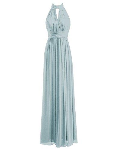 Bridesmaid Dresses Long Prom Dress Chiffon Halter Evening Gowns Pleat Wedding Party Dress Ice Blue L