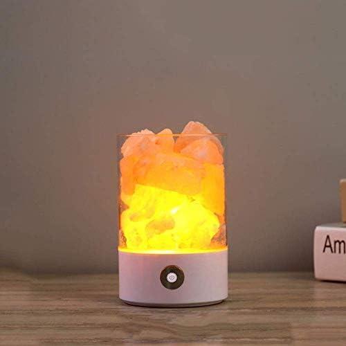 美しいホームデコレーションランプ ヒマラヤラウンド塩ストーンランプ、ソルトクリスタルランプナチュラル塩デコレーション・ライトホワイトルックロマンス常夜灯ピュリ税込LED電球無段階調光ポータブルΦ9.4* H14CM