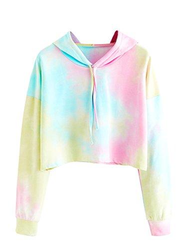 Womens Juniors Tie Dye - SweatyRocks Women's Sweatshirt Pullover Crop Hoodie Tie Dye Long Sleeve Shirt Multicolor One Size