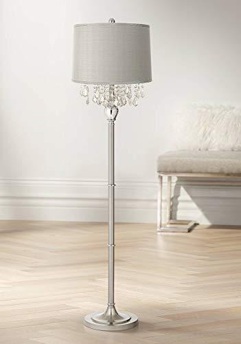 Modern Floor Lamp Satin Steel Chrome Crystal Chandelier Platinum Gray Silk Drum Shade for Living Room Reading Bedroom - 360 ()