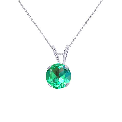 """Genuine 14K Solid White Gold 5mm Round Created Green Sapphire 18"""" Rope Chain Necklace"""